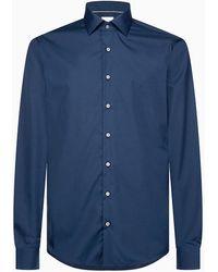 Calvin Klein Slim Fit Strijkvrij Overhemd Met Semi-wide Spread-kraag - Blauw