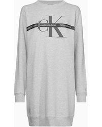 Calvin Klein Sweatkleid mit Monogramm-Logo - Grau