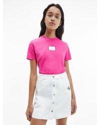 Calvin Klein - T-shirt Van Biologisch Katoen Met Iriserend Logo - Lyst