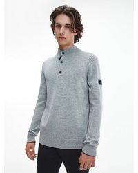 Calvin Klein Wool Blend Button Neck Jumper - Grey