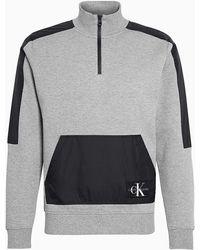 Calvin Klein Sweatshirt Van Gemengd Materiaal Met Rits In De Hals - Grijs
