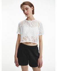 Calvin Klein - Cropped T-shirt Met Kant - Lyst