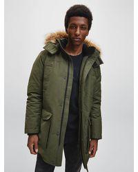Calvin Klein Hooded Down Parka Coat - Green