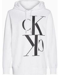 Calvin Klein Hoodie Van Organisch Katoen Met Logo - Wit