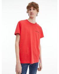 Calvin Klein T-shirt Van Biologisch Katoen Met Logo Op De Rug - Rood