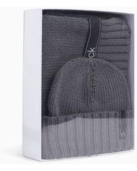 Calvin Klein Sjaal Van Wolmix En Muts Cadeauset - Grijs