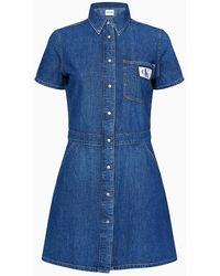 Calvin Klein Denim Overhemdjurk - Blauw