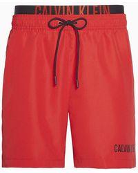 Calvin Klein Medium Zwemshort Met Dubbele Tailleband - Intense Power - Rood