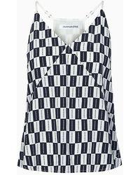 Calvin Klein - Top con logo de tablero de ajedrez - Lyst