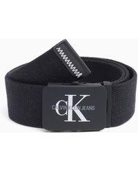 Calvin Klein Canvas Plaque Belt - Black