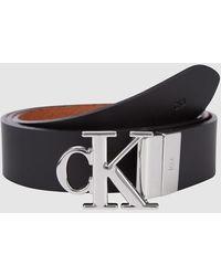 Calvin Klein Omkeerbare Riem Met Logo - Zwart