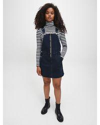 Calvin Klein Zip Up Dungaree Dress - Blue