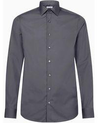 Calvin Klein Fitted Net Overhemd - Grijs