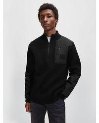 Calvin Klein Utility-Wollpullover mit halblangem Reiverschluss - Schwarz