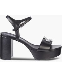 Calvin Klein Sandales talon en cuir - Noir