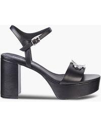 Calvin Klein Leren Sandalen Met Hak - Zwart