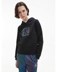 Calvin Klein - Hoodie Van Biologisch Katoen Met Iriserend Logo - Lyst