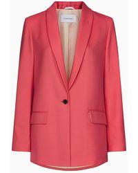 Calvin Klein Blazer aus feinem Twill mit relaxter Passform - Pink