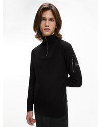 Calvin Klein Wool Zip Neck Jumper - Black