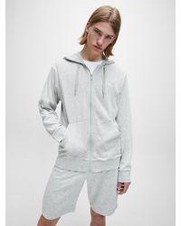 Calvin Klein Capuchonsweatvest Cotton Modal Lounge - Grijs