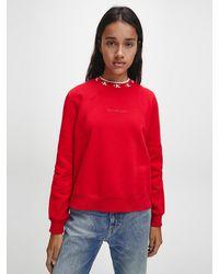 Calvin Klein Relaxed Sweatshirt Met Kraag En Logo - Rood