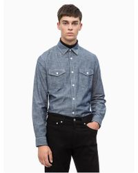 Calvin Klein - Slim Fit Chambray Utility Shirt - Lyst