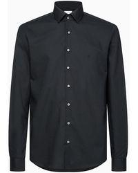 Calvin Klein Slim Fit Overhemd Met Stretch - Zwart
