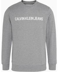 Calvin Klein Sweater Met Logoprint - Grijs