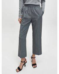 Calvin Klein Fine Stripe Wide Leg Trousers - Grey