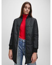 Calvin Klein Reversible Quilted Faux Sherpa Coat - Black