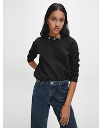 Calvin Klein Relaxed Sweatshirt Met Kraag En Logo - Zwart