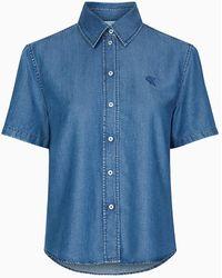 Calvin Klein Denim Overhemd Met Korte Mouwen - Blauw