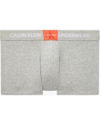 Calvin Klein Unterhose aus leicht gesprenkeltem Stoff mit Monogramm in Anthrazit - Grau
