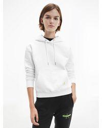 Calvin Klein Hoodie Van Biologisch Katoen Met Logo Op Rug - Wit