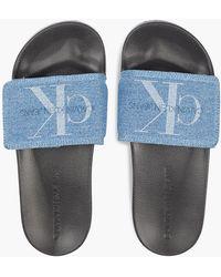Calvin Klein Denim-Slippers - Blau