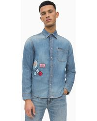 c0c882ac1a Calvin Klein Western Denim Shirt in Blue for Men - Lyst