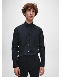 Calvin Klein Slim Fit Business-Hemd aus Popeline - 'Better Cotton Initiative' - Schwarz