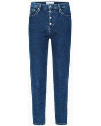 Calvin Klein Mom Jeans Met Hoge Taille - Blauw