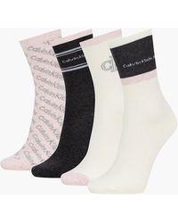 Calvin Klein 4 Pack Crew Socks Gift Set - Grey