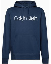 Calvin Klein Logo Hoodie aus Bio-Baumwolle - Blau