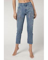 Calzedonia Denim Boyfriend Jeans With Gemstones - Blue