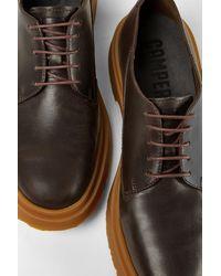 Camper Zapatos de cordones de piel marrón oscuro