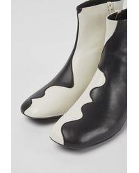 Camper Botas de piel blancas y negras - Negro