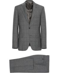 Canali - Pure Wool Prince Of Wales Milano Suit With Blue And Bordeaux Details - Lyst