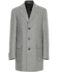 Canali Light Gray Wool Overcoat