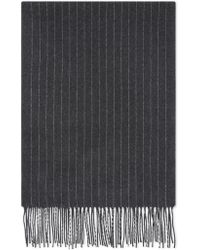 Canali - Dark Gray Pure Wool Scarf With Light Gray Pin Stripes - Lyst