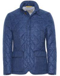 Canali - Sapphire Blue Textured Wool-silk-linen Field Jacket - Lyst