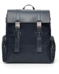 Canali - Blue Leather And Fabric Backpack With Two Straps - Lyst