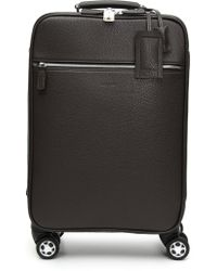 4eb4f41f3a29 Canali - Dark Brown Tumbled Calfskin Leather Spinner Suitcase - Lyst