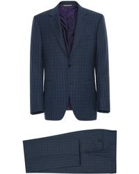 Canali - Blue Super 170s Wool Prince Of Wales Siena Suit With Top Construction - Lyst